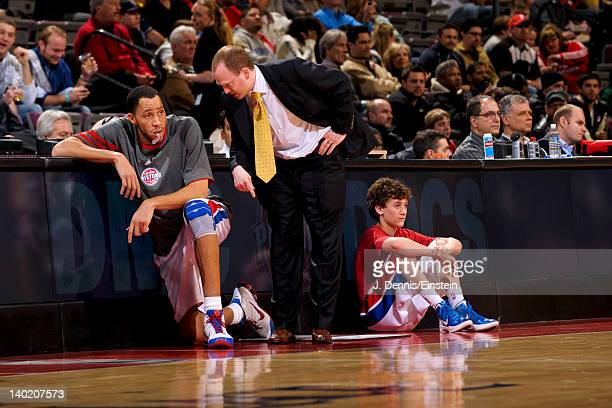 Lawrence Frank head coach of the Detroit Pistons speaks to player Tayshaun Prince during a game against the Charlotte Bobcats on February 29 2012 at...
