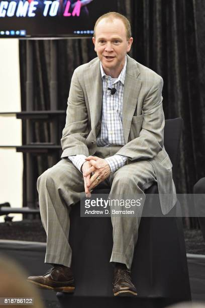 Lawrence Frank of the Los Angeles Clippers talks to the media during a press conference in Playa Vista California on July 182017 at Clippers Training...