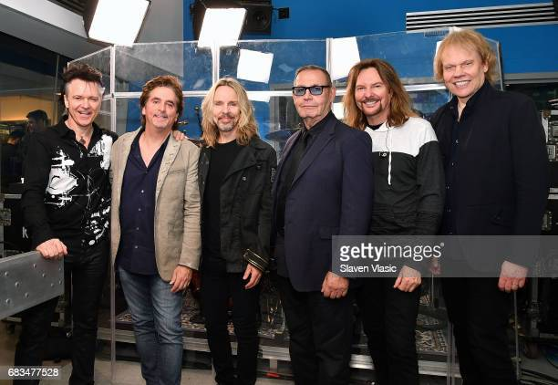 Lawrence Gowan Todd Sucherman Tommy Shaw Chuck Panozzo Ricky Phillips and James 'JY' Young of rock band Styx visit SiriusXM Studios on May 15 2017 in...