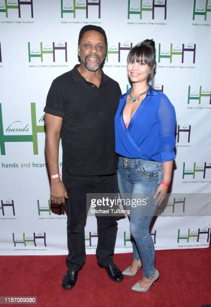 Lawrence Hilton Jacobs and Cassandra Valero attend Hands And Hearts Of Hope Foundation's An Evening Of Fun And Comedy inaugural benefit at The Comedy...