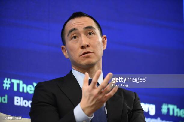 Lawrence Ho chairman and chief executive officer of Melco Resorts Entertainment Ltd speaks during the Bloomberg Year Ahead summit in Tokyo Japan on...
