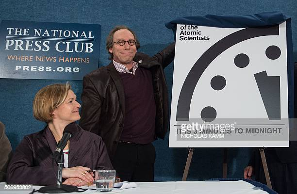 Lawrence Krauss chair of the Bulletin of Atomic Scientists' Board of Sponsors unveils the 'Doomsday Clock' showing that the world is now three...