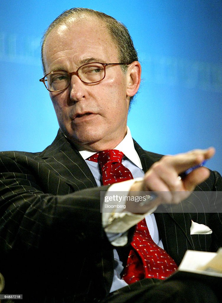 Lawrence 'Larry' Kudrow, CEO of Kudlow & Company and co-host of 'Kudlow & Cramer' on CNBC, moderates a panel discussion titled The Great Jobs Debate: U.S. Job Creation in a Globalized World' during the Milken Institute Global Conference in Beverly Hills, California April 27, 2004.