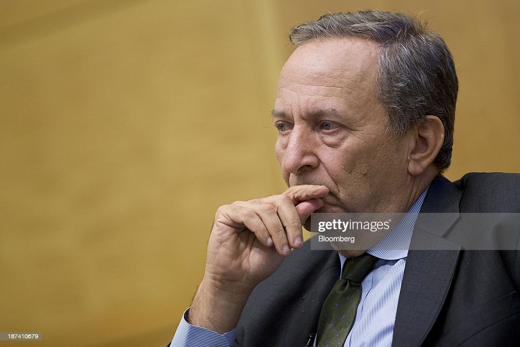 Fed Reserve Chairman Bernanke And Larry Summers Participate In IMF Panel : News Photo