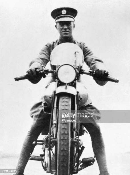 E Lawrence 'Lawrence of Arabia' on his Brough Superior motorcycle