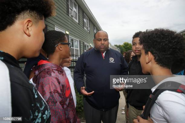Lawrence Mayor Dan Rivera addresses a group as ongoing recovery efforts take place in the wake of a series of fires and gas explosions in Lawrence MA...