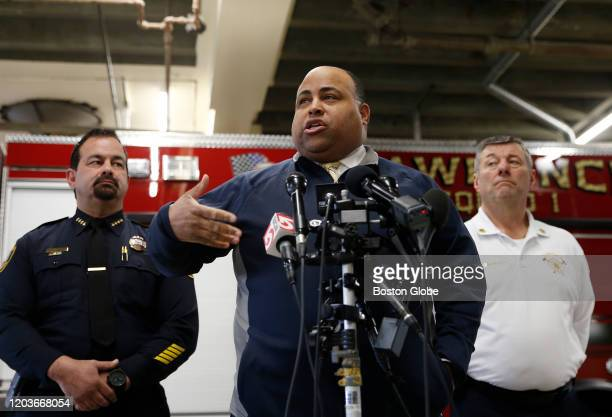 Lawrence Mayor Dan Rivera center speaks to reporters during a press conference in Lawrence MA on Feb 26 2020 as he reacts to the news that Columbia...