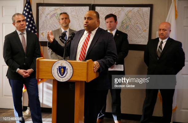 Lawrence Mayor Dan Rivera speaks at a press conference in Lawrence MA to announce that all major work has been completed in the Lawrence area...