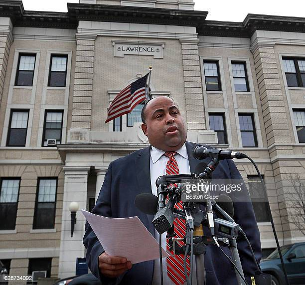 Lawrence mayor Daniel Rivera holds a press on Dec 8 2016 across the street from City Hall in Lawrence MA to discuss the latest developments in the...