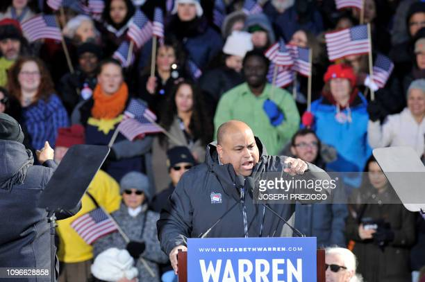 Lawrence Mayor Daniel Rivera speaks before Democratic US Senator Elizabeth Warren announces her entry into the 2020 US presidential race on February...