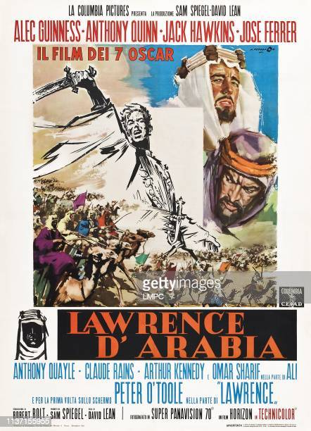 Lawrence Of Arabia poster clockwise from left Peter O'Toole Alec Guinness Anthony Quinn on Italian poster art 1962