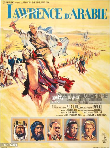 Lawrence Of Arabia poster French poster top Peter O'Toole bottom from left Alec Guinness Anthony Quinn Jack Hawkins Jose Ferrer Peter O'Toole on...