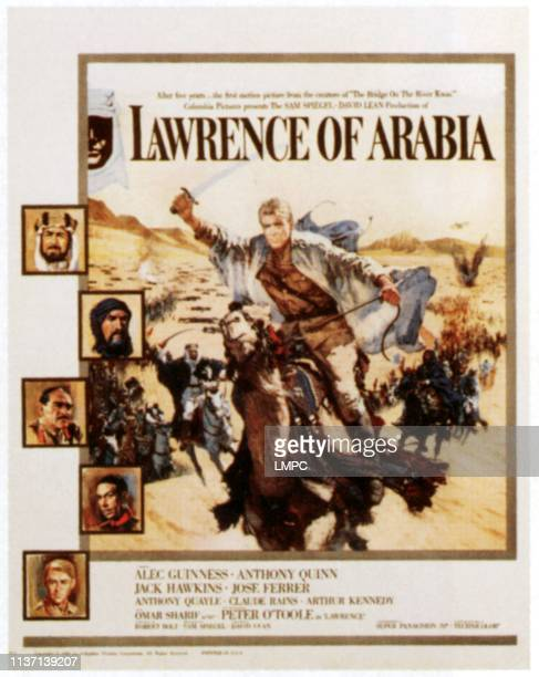 Lawrence Of Arabia poster left from top Alec Guinness Anthony Quinn Omar Sharif Jose Ferrer Peter O'Toole right Peter O'Toole on window card 1962