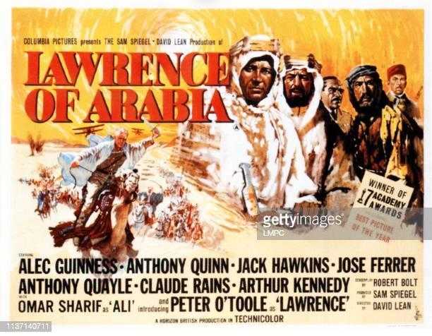 Peter O'Toole Alec Guinness Omar Sharif Anthony Quinn Jose Ferrer on UK poster art 1962