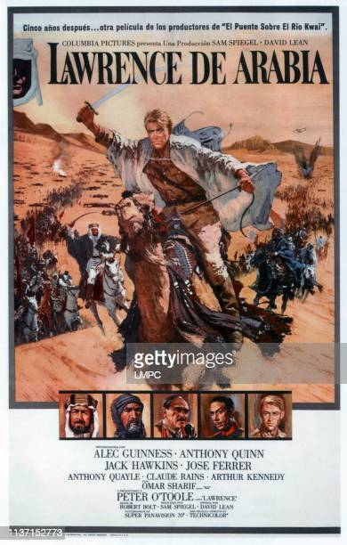 Lawrence Of Arabia poster top Peter O'Toole bottom from left Alec Guinness Anthony Quinn Omar Sharif Jose Ferrer Peter O'Toole on Spanish poster art...