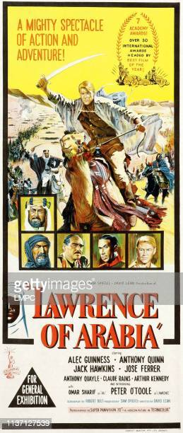 Peter O'Toole bottom from top left Alec Guinness Anthony Quinn Jack Hawkins Jose Ferrer Peter O'Toole on Australian poster art 1962