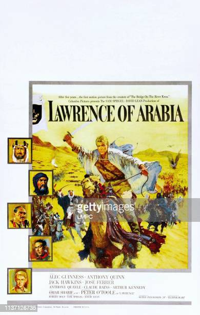 Lawrence Of Arabia poster US poster art center Peter O'Toole left from top Alec Guinness Anthony Quinn Omar Sharif Jose Ferrer Peter O'Toole 1962