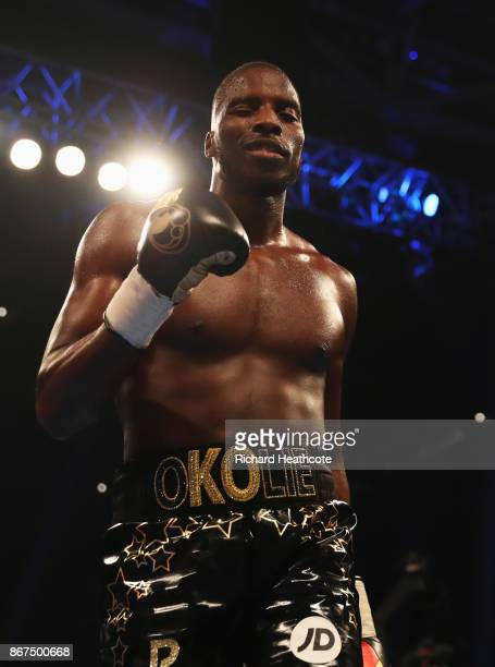 Lawrence Okolie celebrates his third round victory after the Cruiserweight contest against Adam Williams at Principality Stadium on October 28 2017...