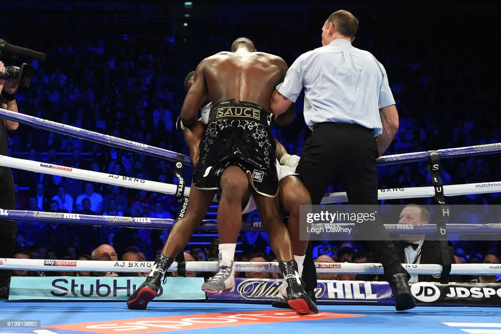 Lawrence Okolie forces Issac Chamberlain against the ropes during their fight for the vacant WBA Continental Cruiserweight title at The O2 Arena on February 3, 2018 in London, England.