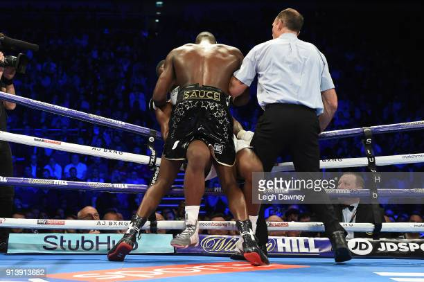 Lawrence Okolie forces Issac Chamberlain against the ropes during their fight for the vacant WBA Continental Cruiserweight title at The O2 Arena on...