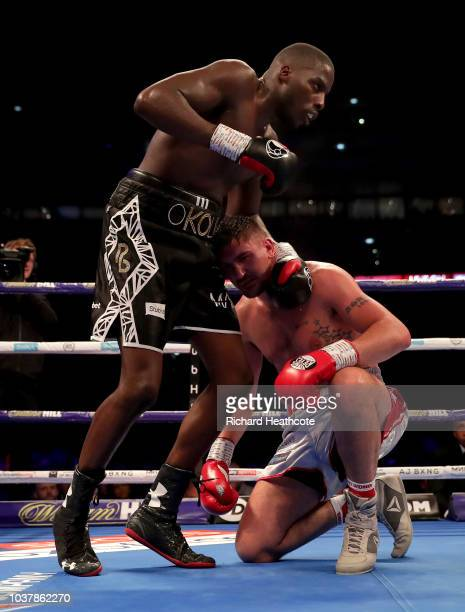 Lawrence Okolie holds Matty Askin during the British Cruiserweight Championship title fight between Matty Askin and Lawrence Okolie at Wembley...