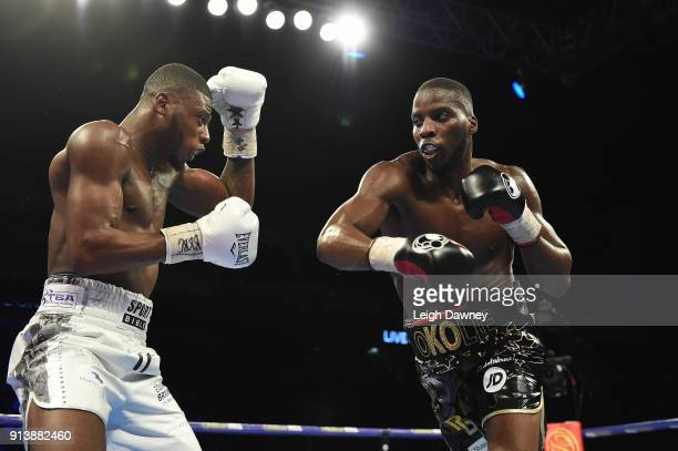 Lawrence Okolie in boxing action against Issac Chamberlain during their fight for the vacant WBA Continental Cruiserweight title at The O2 Arena on...