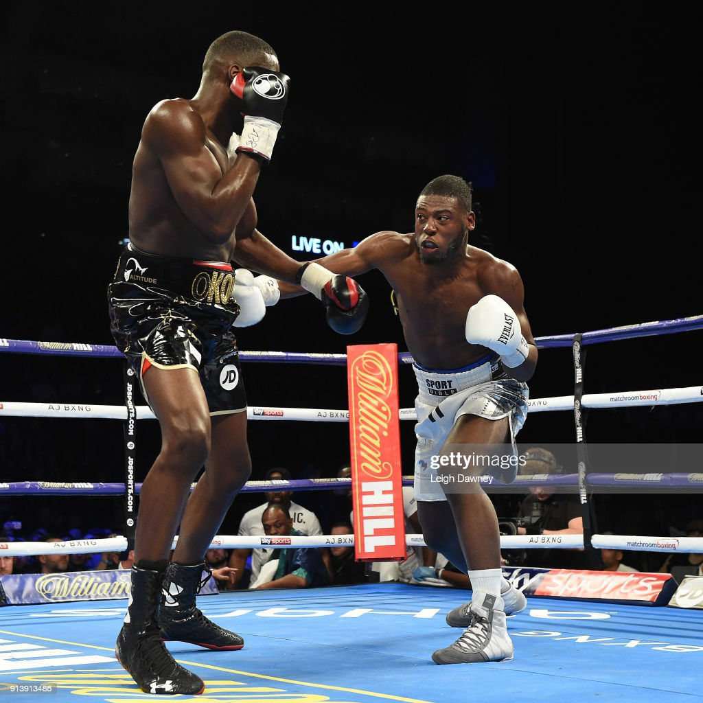 Lawrence Okolie in boxing action against Issac Chamberlain (r) during their fight for the vacant WBA Continental Cruiserweight title at The O2 Arena on February 3, 2018 in London, England.