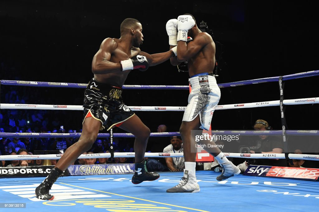 Lawrence Okolie (L) in boxing action against Issac Chamberlain during their fight for the vacant WBA Continental Cruiserweight title at The O2 Arena on February 3, 2018 in London, England.