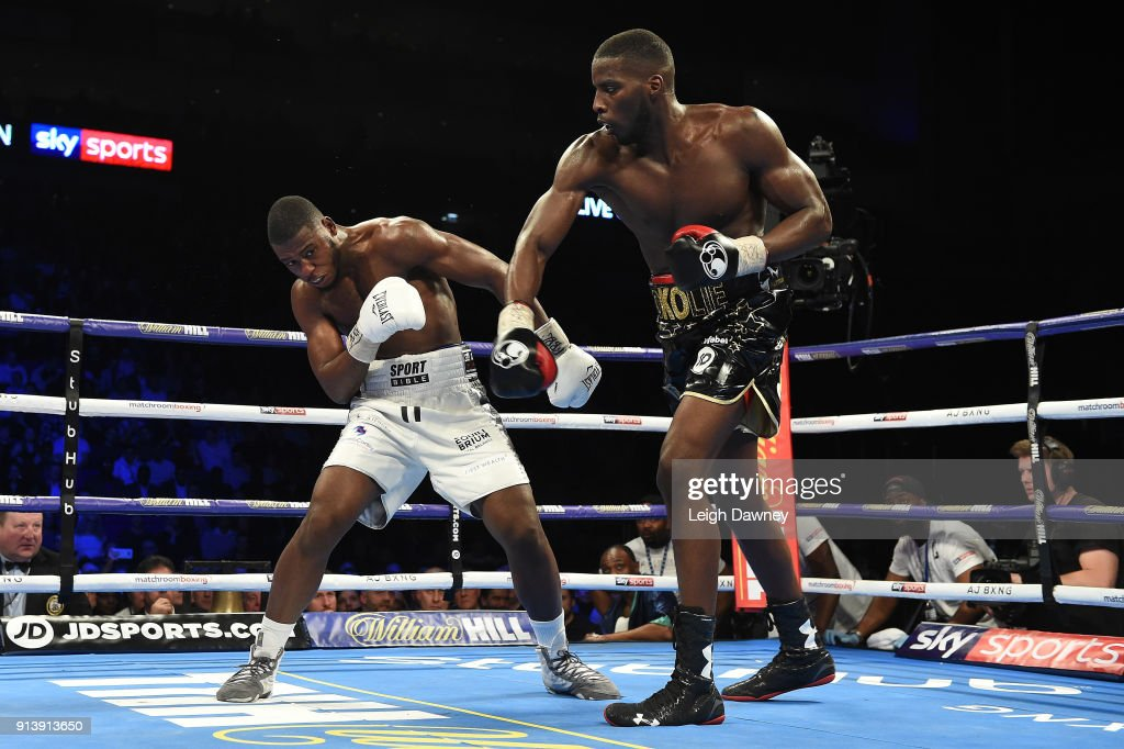 Lawrence Okolie (r) in boxing action against Issac Chamberlain during their fight for the vacant WBA Continental Cruiserweight title at The O2 Arena on February 3, 2018 in London, England.