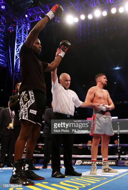 Lawrence Okolie is judged the winner by unanimous decision at Wembley Stadium London