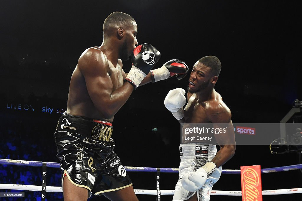 Lawrence Okolie lands a left hand punch against Issac Chamberlain during their fight for the vacant WBA Continental Cruiserweight title at The O2 Arena on February 3, 2018 in London, England.