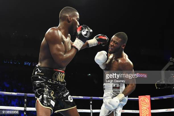 Lawrence Okolie lands a left hand punch against Issac Chamberlain during their fight for the vacant WBA Continental Cruiserweight title at The O2...