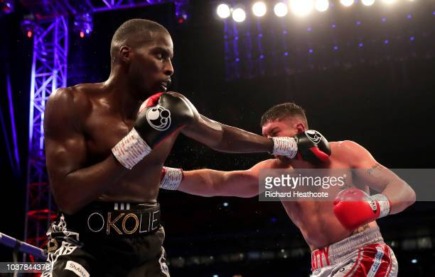 Lawrence Okolie punches Matty Askin during the British Cruiserweight Championship title fight between Matty Askin and Lawrence Okolie at Wembley...