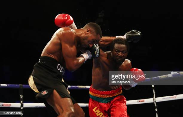 TYNE ENGLAND OCTOBER 13 Lawrence Osueke fights Charles Adamu during a Cruiserweight Contest at Metro Radio Arena on October 13 2018 in Newcastle upon...