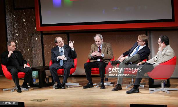 Lawrence Paul Helge Lyman Ira Hatow Krauss Steinhardt and Kragh Page speak at the 'Echoes From The Beginning' panel at CUNY's Proshansky auditorium...