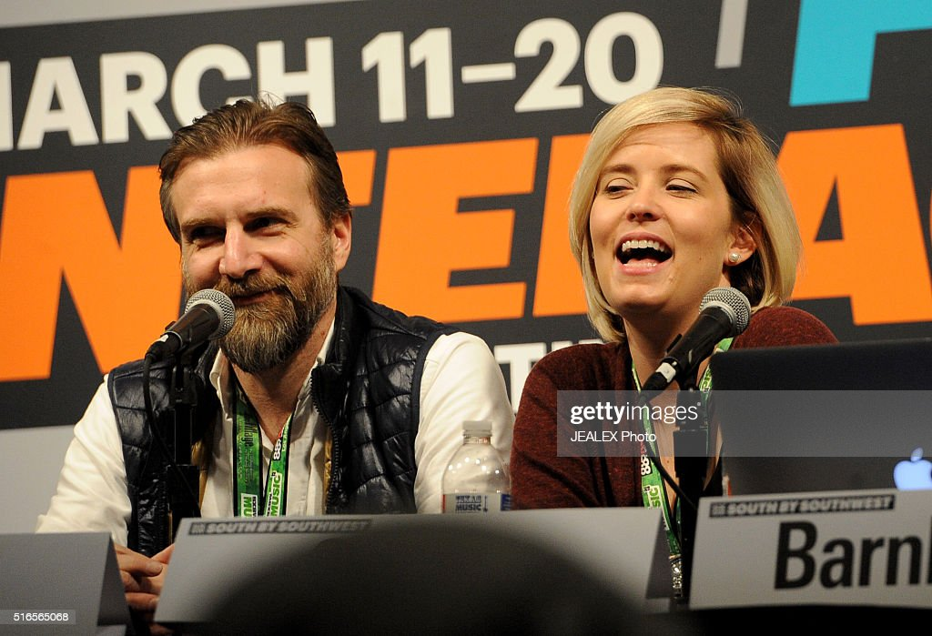 Lawrence Peryer and Carolynn Cecilia speak onstage at 'David Bowie Visual Collaborators' during the 2016 SXSW Music, Film + Interactive Festival at Austin Convention Center on March 19, 2016 in Austin, Texas.