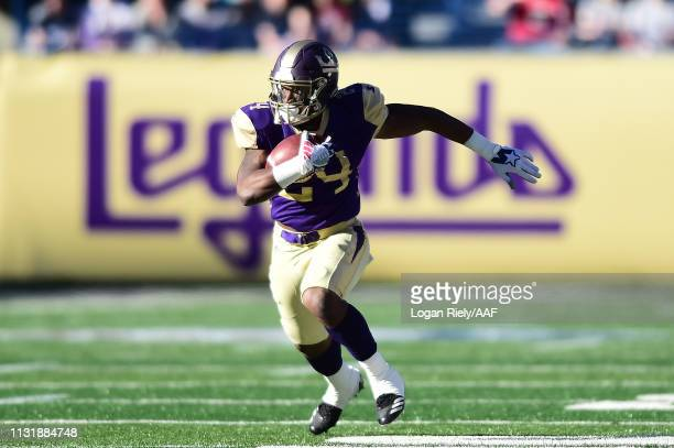 Lawrence Pittman of Atlanta Legends runs the ball against the Birmingham Iron during the first quarter of the Alliance of American Football game at...