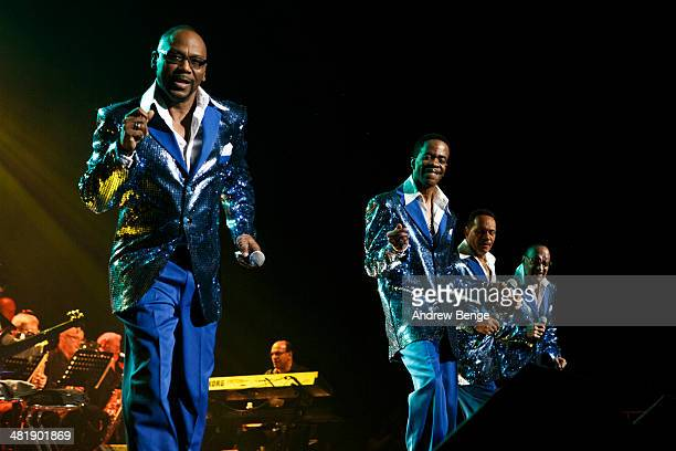 Lawrence Roquel Payton Harold Spike DeLeon Ronnie McNeir and Abdul Duke Fakir of The Four Tops perform on stage at First Direct Arena on April 1 2014...