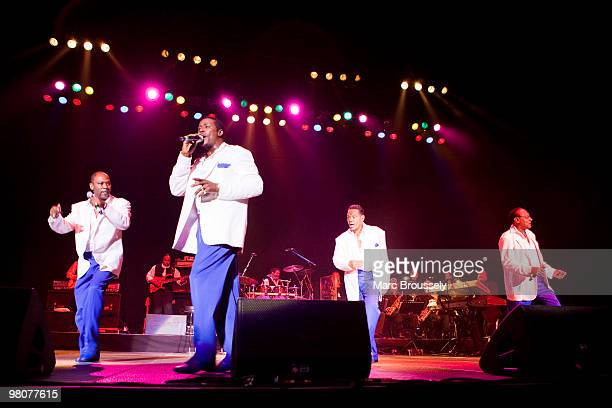 Lawrence Roquel Payton Jr Ronnie McNeir and Abdul Duke Fakir of The Four Tops perform at the O2 Arena on March 26 2010 in London England
