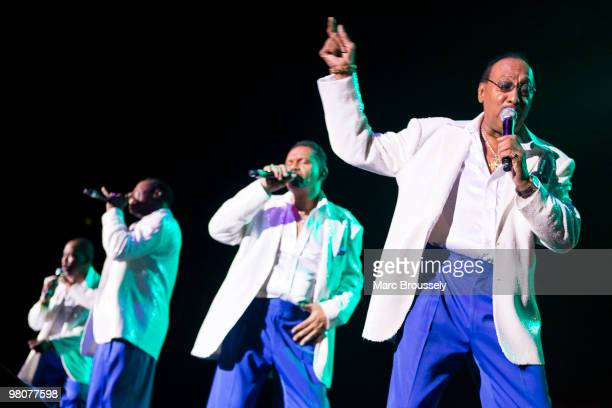 Lawrence Roquel Payton Jr Theo Peoples Ronnie McNeir and Abdul Duke Fakir of The Four Tops perform at the O2 Arena on March 26 2010 in London England