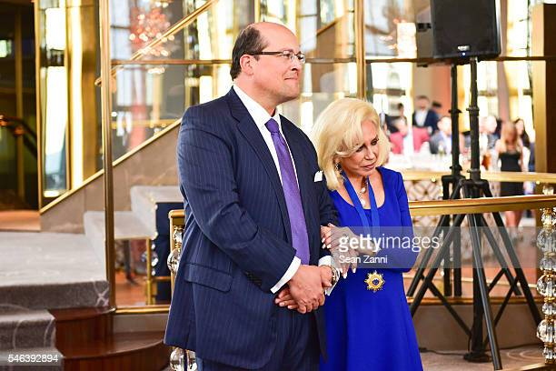 Lawrence Rosenbloom and Harriette Rose Katz attend Harriette Rose Katz Hosts The Second Anniversary of The Chosen Few at The Rainbow Room on July 11...
