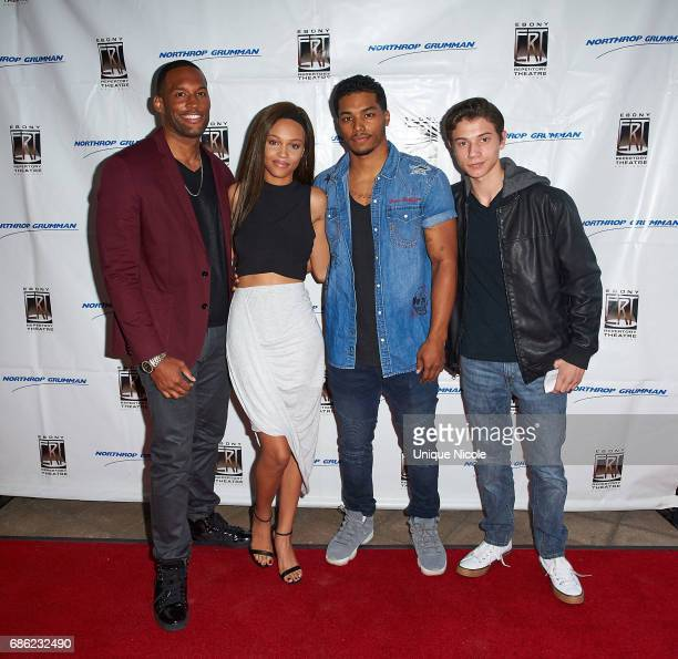 Lawrence Saint Victor Rome Flynn Reign Edwards and Anthony Turpel attend Ebony Repertory Theatre Presents 'Five Guys Named Moe' at Nate Holden...