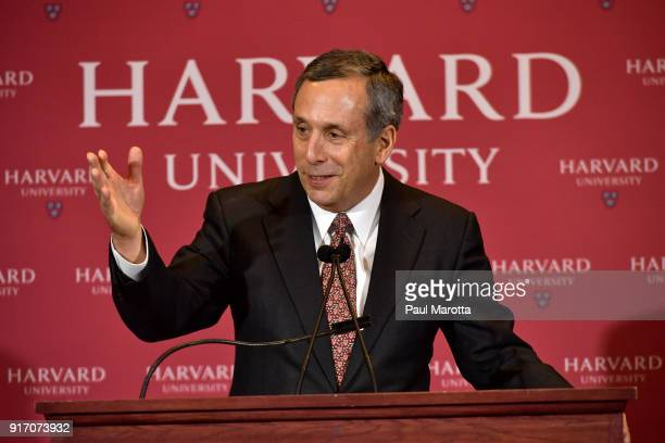 Lawrence Seldon Bacow speaks as he is introduced as Harvard University's 29th president during a news conference on February 11 2018 in Cambridge...