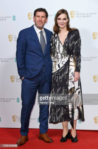 Lawrence Sher and Hildur Guonadottir attend the EE British Academy Film Awards 2020 Nominees' Party at Kensington Palace on February 01 2020 in...