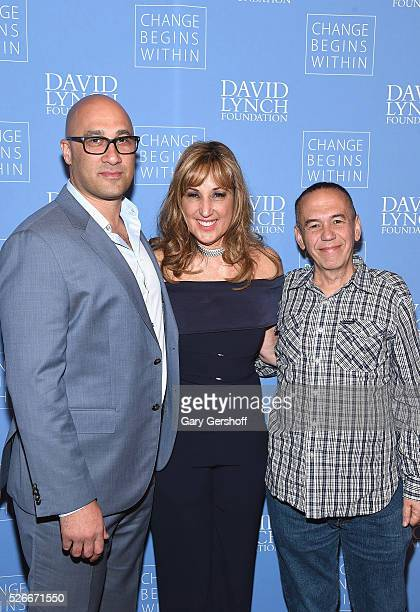 Lawrence Smith Board Member David Lynch Foundation Joanna Plafsky and comedian Gilbert Gottfried attend 'An Amazing Night of Comedy A David Lynch...