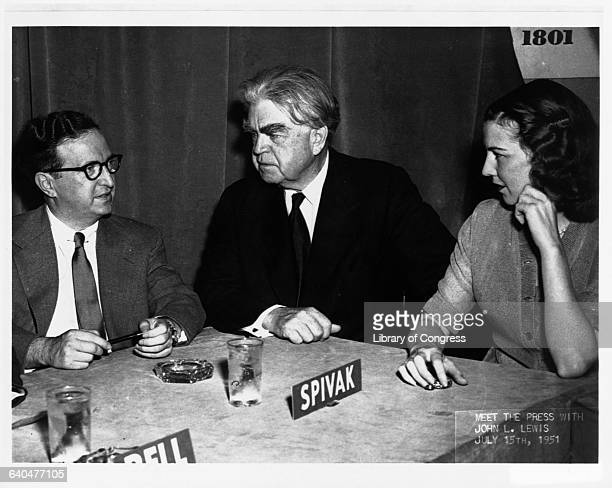 Lawrence Spivak interviews labor leader John Lewis as moderator Martha Rountree looks on. Meet the Press first aired in 1947.