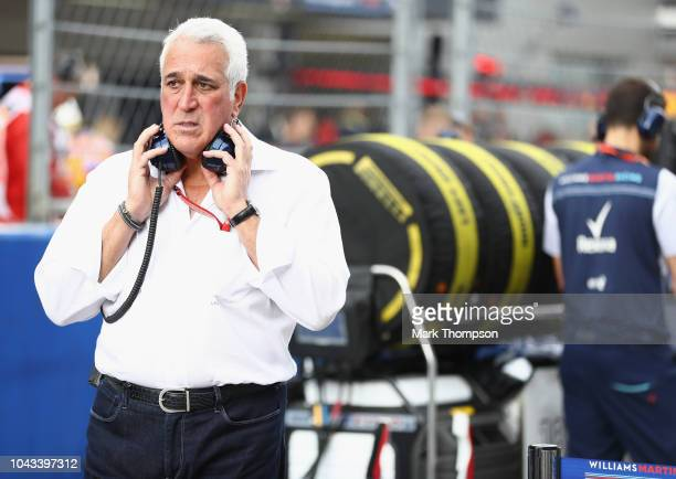Lawrence Stroll looks on on the grid before the Formula One Grand Prix of Russia at Sochi Autodrom on September 30 2018 in Sochi Russia