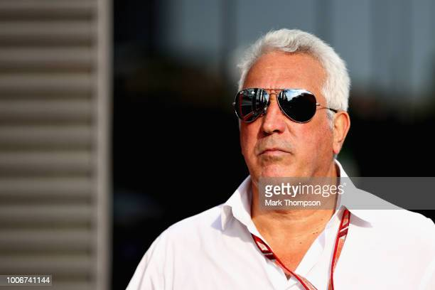 Lawrence Stroll of Canada leaves the paddock after qualifying for the Formula One Grand Prix of Hungary at Hungaroring on July 28 2018 in Budapest...
