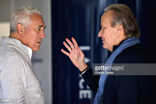 Lawrence Stroll talks with Mansour Ojjeh during day two of F1 Winter Testing at Circuit de Catalunya on March 7 2018 in Montmelo Spain