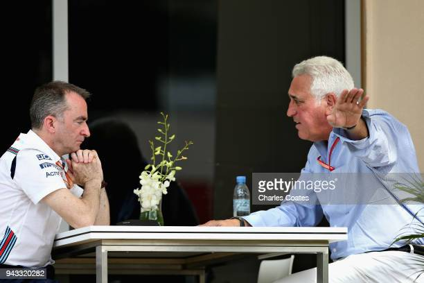 Lawrence Stroll talks with Paddy Lowe Chief Technical Officer of Williams F1 in the Paddock before the Bahrain Formula One Grand Prix at Bahrain...